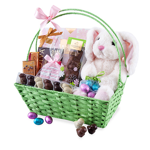 Godiva Basket with Easter Eggs and Chocolate
