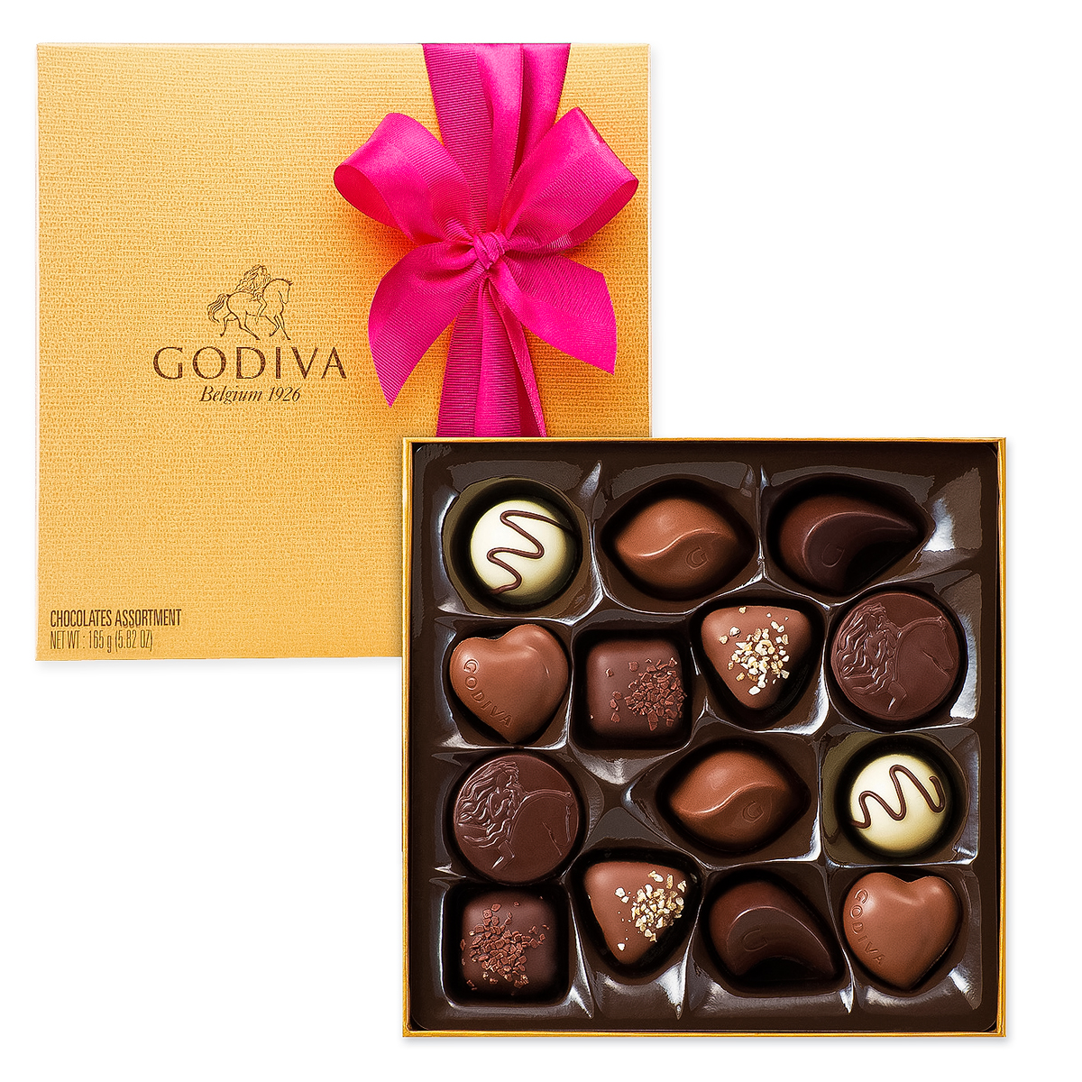 Godiva decorated gold box 14 pcs delivery in europe for Go diva