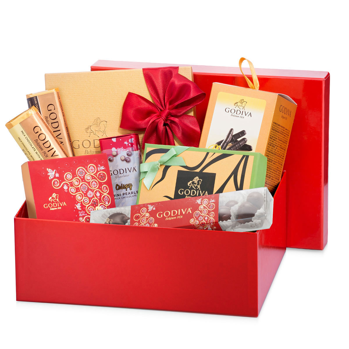 Godiva red gift box with christmas treats delivery in
